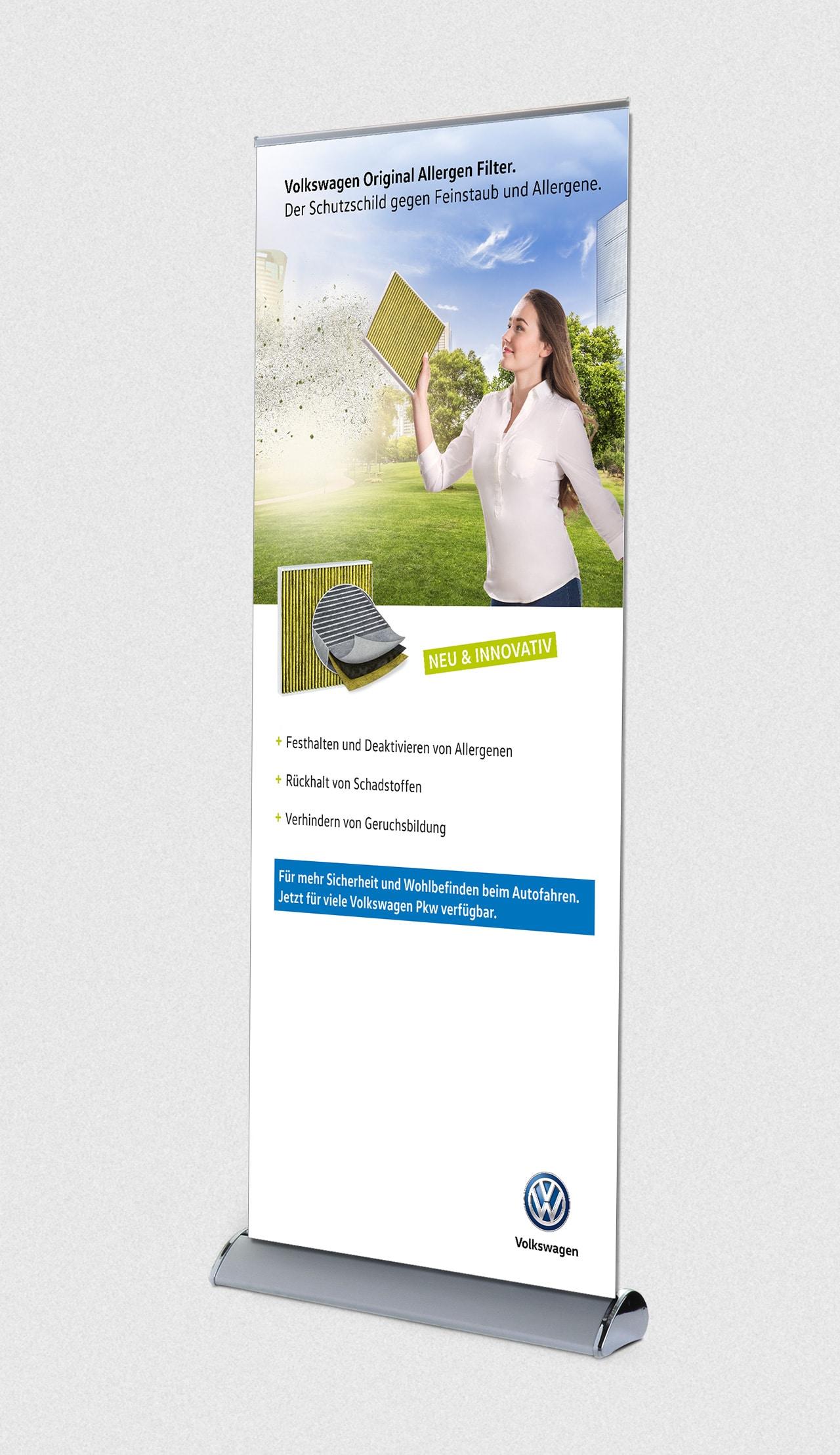 intonic werbeagentur vw kampagne allergenfilter rollup