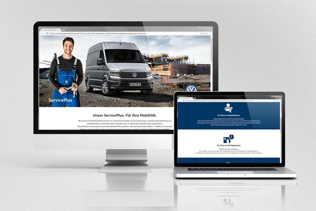 intonic werbeagentur vw nfz kampagne serviceplus web-template